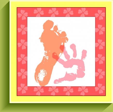 baby birth celebration background footprint fingerprint design