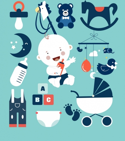 baby design elements toys kid icons flat decor