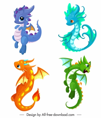 Baby Dragon Icons Cute Colorful Cartoon Characters Design Vectors Stock In Format For Free Download 3 31mb