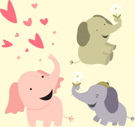 Baby shower background cute boy cart decor vectors stock in format baby elephants background cute cartoon icons voltagebd Choice Image