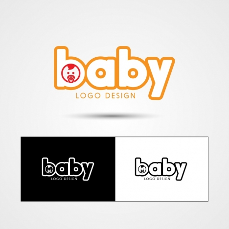 baby logotype sets kid icon texts design