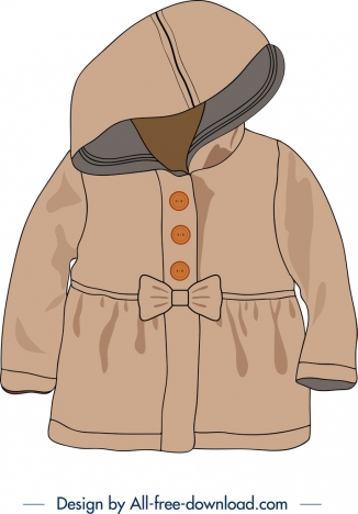 baby overcoat icon brown 3d design