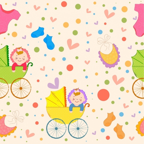 baby pattern kid trolley icons cute colorful decor