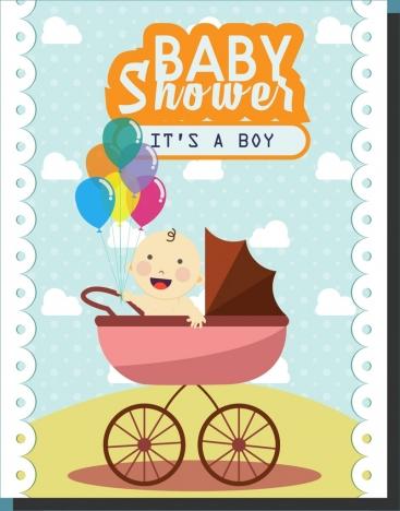 baby shower background cute boy cart decor