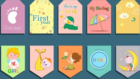 baby shower card templates colorful cute icons
