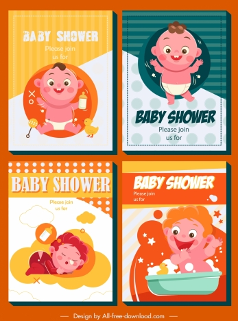 baby shower card templates colorful cute kids decor