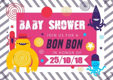 baby shower invitation card funny cartoon characters