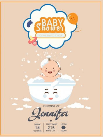 baby shower poster washing kid icon cute design