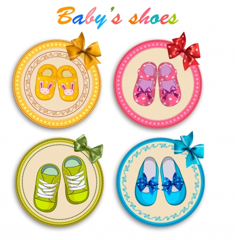 babys shoes vector illustration with colorful round icons