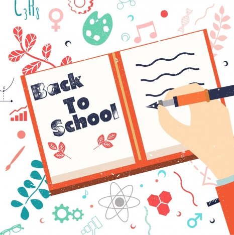 back to school banner book writing hand icons