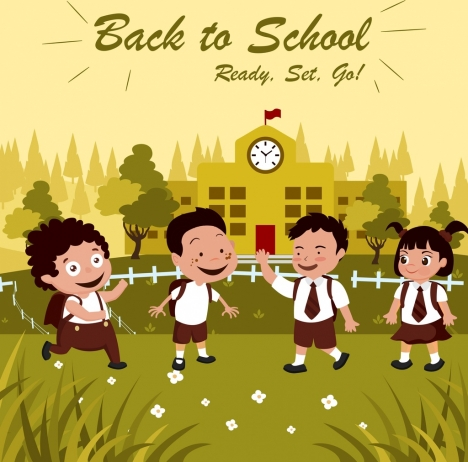 back to school banner children icons colored cartoon