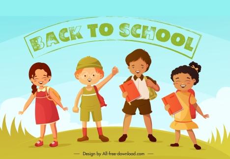 back to school banner cute children cartoon characters