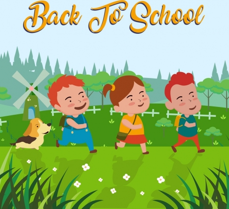 back to school banner cute pupil icons