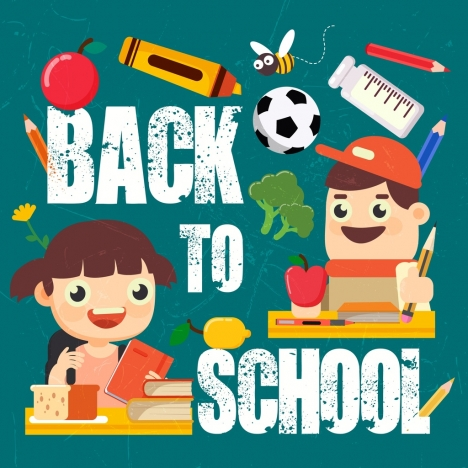 back to school banner elementary pupil tools icons