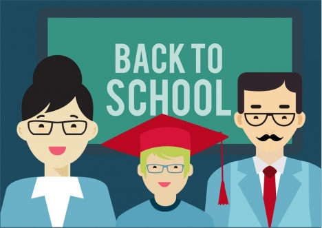 back to school banner family style design