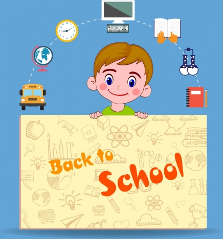 back to school banner handdrawn page boy icons