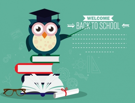 back to school banner owl book stack icons