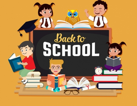 back to school banner school children books icons