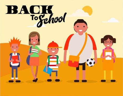 back to school banner students icons cartoon characters