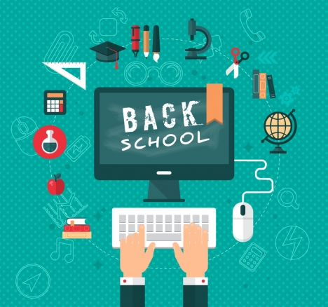 back to school vector illustration with study tools