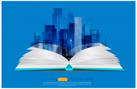 background vector illustration with book and vignette cityscape