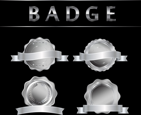 badge icons collection shiny silver design