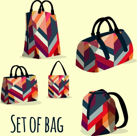 bags templates colorful abstract pattern design