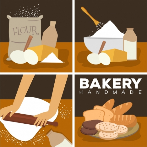 bakery design elements flour kitchenware bread icons