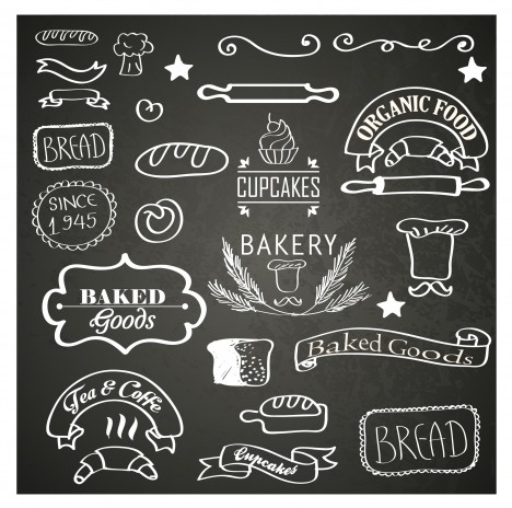 bakery hand drawn badge and label