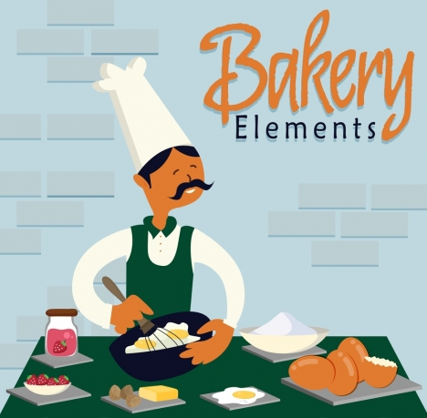 bakery job banner cook ingredients icons colored cartoon