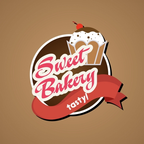 bakery logo design 3d ribbon cakes text decoration
