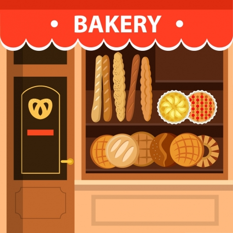 bakery store facade design with bread display