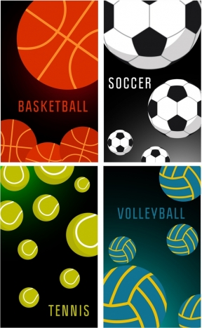 ball sports banners basketball soccer tennis volleyball icons