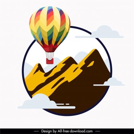 balloon tourism background mountain clouds decor flat sketch