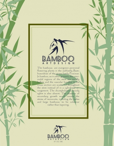 bamboo background template green icon decoration