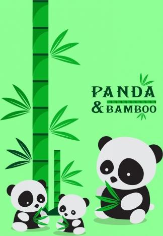 bamboo panda background green icons cute cartoon design