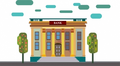 bank architecture sketch in color classical style