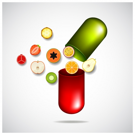 banner design with nutritious vitamin tablet illustration