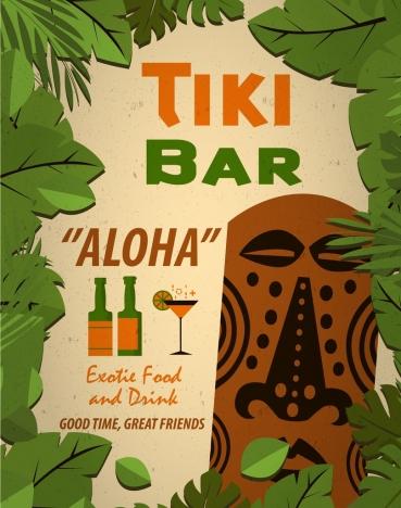 bar advertisement green leaves texts decoration retro design