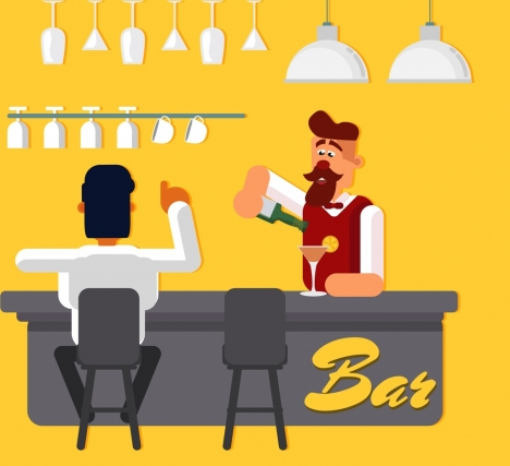 bar background bartender guest icons colored cartoon design