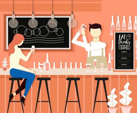 bar background classical colored cartoon design
