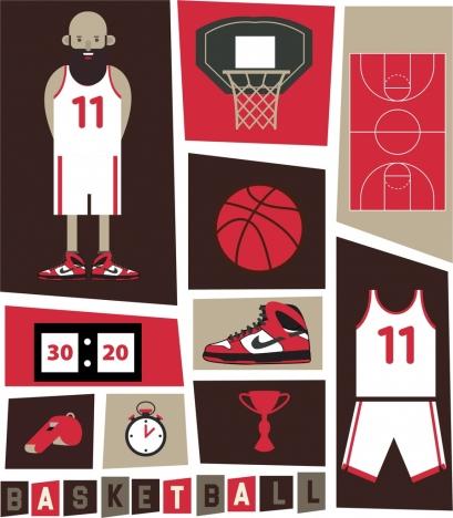 basketball design elements dark symbols decor