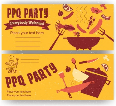 bbq party banners food kitchenware icons retro design