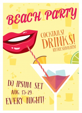 beach party banner design with mouth drinking cocktail
