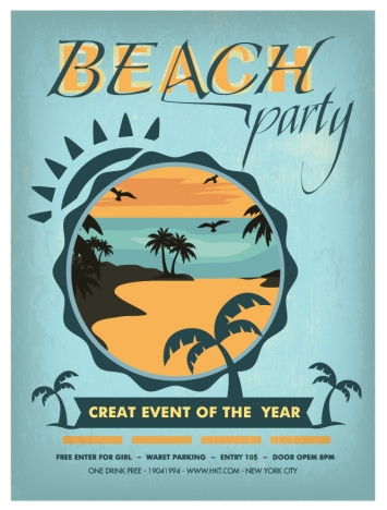 beach party poster design with circles and trees