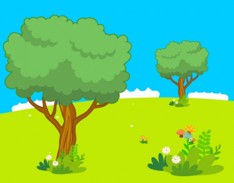 beautiful cartoon landscape with tree and flower