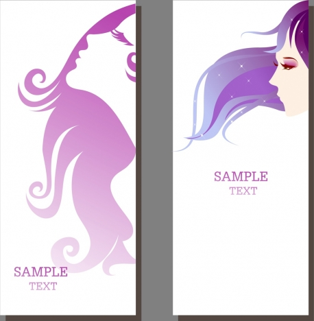 Beauty Salon Banner Sets Beautyful Girl Ornament Vectors Stock In