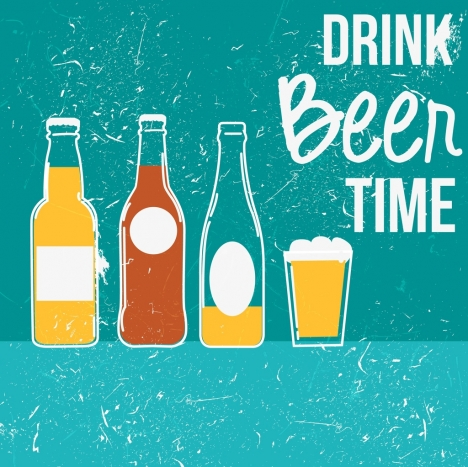 beer advertisement banner bottle glass icons retro design