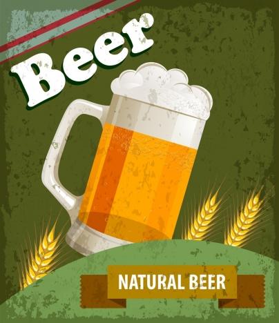 beer advertising grunge retro design glass icon