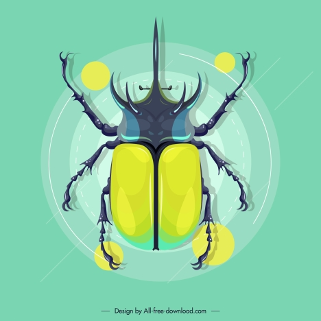 beetle insect icon colored modern flat sketch